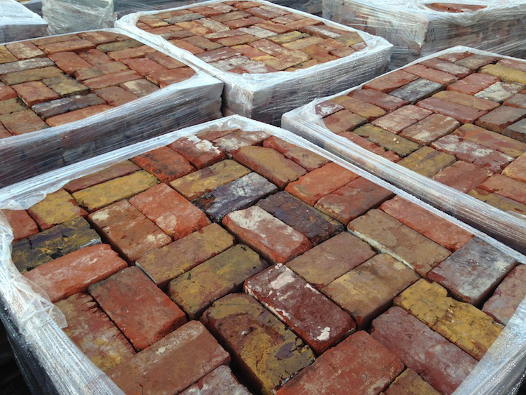 colorful reclaimed brick pallets