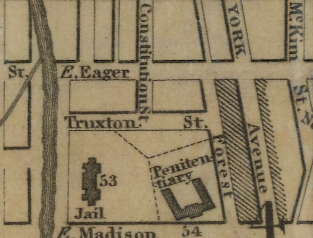 This map from 1833 shows one of the streets named for John Eager Howard shortly after his death
