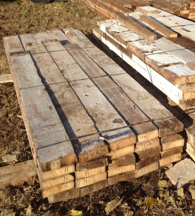 reclaimed joists in bundles
