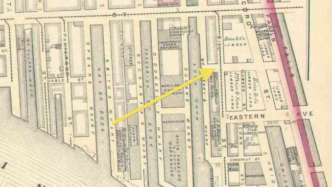 In this map fro 1876, you can see the location of the Heise & Bruns yard and offices. (Map courtesy of the Huntingfield Map Collection from the Maryland State Archives, made available to us by the always helpful, generous, and inspiring Eli Pousson from Baltimore Heritage)
