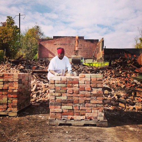reclaimed brick stacking